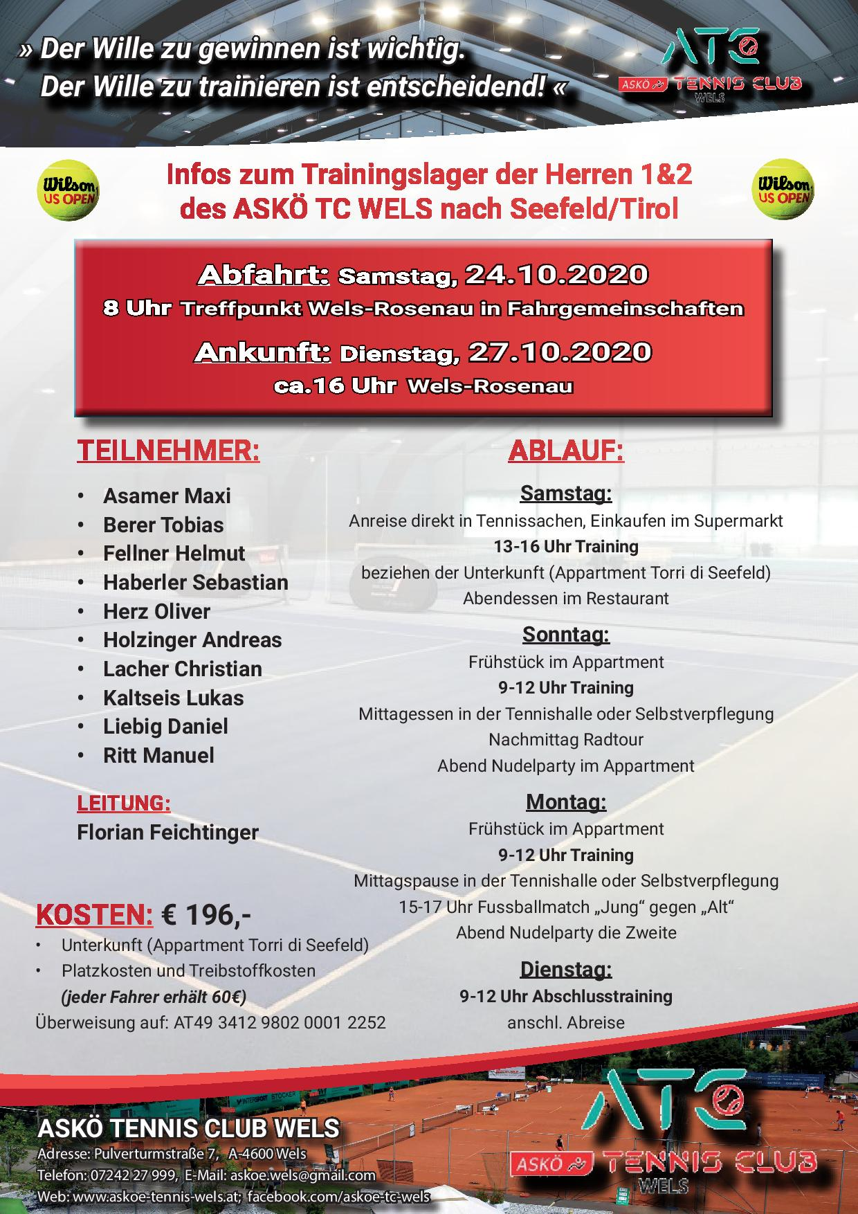 Trainingslager Herbst 2020